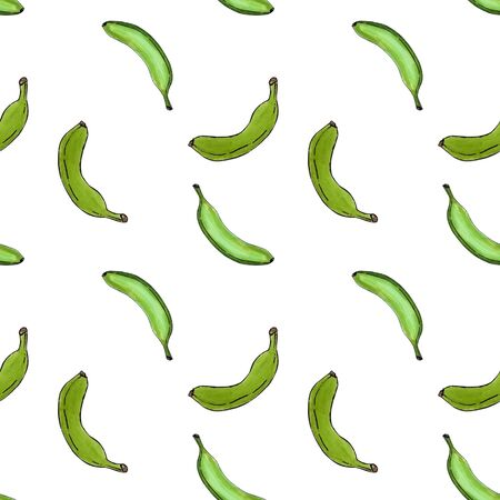 Seamless pattern with green bananas on white background.Marker illustration.