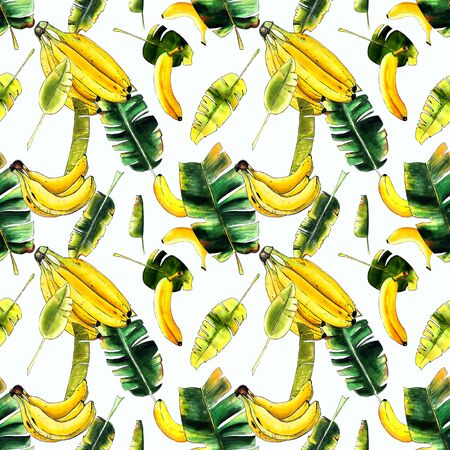 Seamless pattern with banana and leaves on white background. Hand drawn. Marker illustration. Banco de Imagens