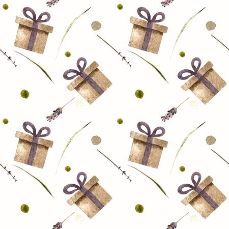 Seamless pattern with gift box and lavender on white background Watercolor illustration