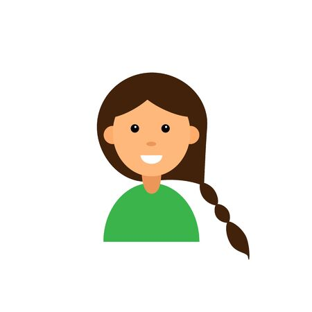 Cute cartoon character. Girl avatar on white background. Flat vector illustration Banco de Imagens