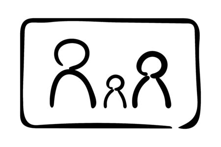 Simple family outline icon.Vector illustration isolated on a white background. Eps10 Banco de Imagens