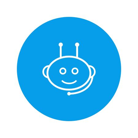 Chatbot icon in headphones with mic on blue backgroud Vector illustration