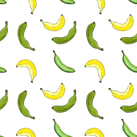 Seamless pattern with yellow bananas on white background.Marker illustration. Banco de Imagens