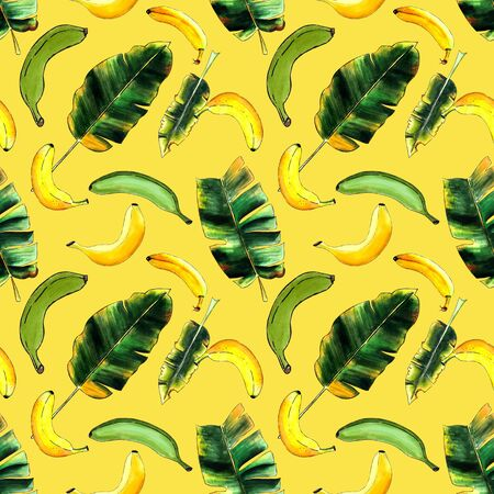 Seamless pattern with banana and leaves on yellow background. Hand drawn. Marker illustration. Banco de Imagens