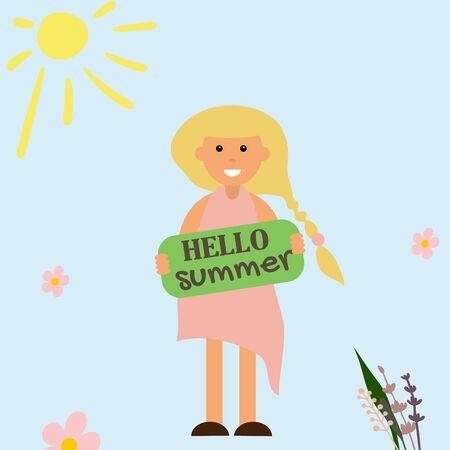 Hello summer poster with girl vector illustration. Summer time cartoon Ilustração