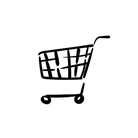Cart shopping icon on white background. Vector illustration