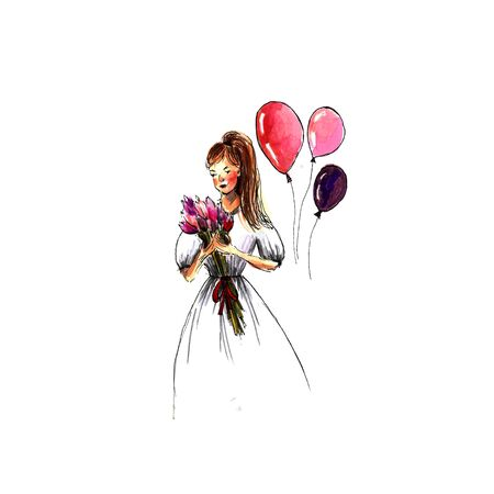 Beautiful girl with a bouquet of tulips and ballons in a dress. Marker illustration Banco de Imagens