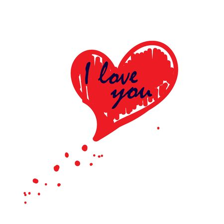 Heart with the inscription i love you on white background. Vector illustration