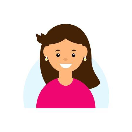 Cute cartoon character. Girl avatar on white background. Flat vector illustration Ilustração