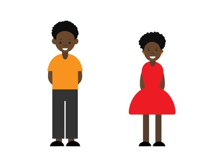 A afro boy and afro girl full length. Cute cartoon character. Vector illustration on white background