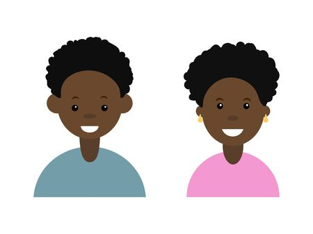 Afro man and afro woman icon vector illustration on white background