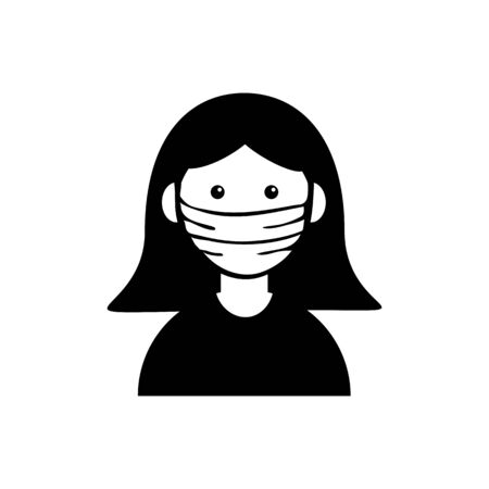 Woman avatar in medical face mask. Concept of coronavirus quarantine. Vector illustration 向量圖像