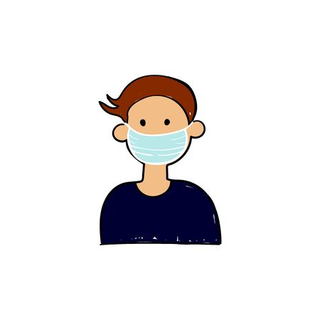 Man avatar in medical face mask. Concept of coronavirus quarantine. Vector illustration 向量圖像