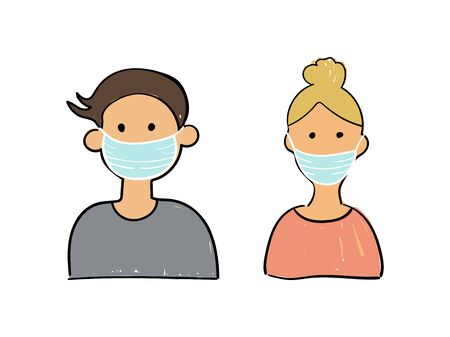 Girl and boy avatar in medical mask on white background. Flat vector illustration. Cute cartoon character.