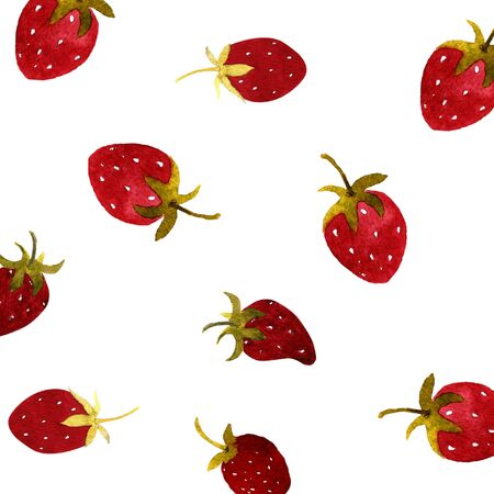 Strawberries on a white background. Watercolor illustration