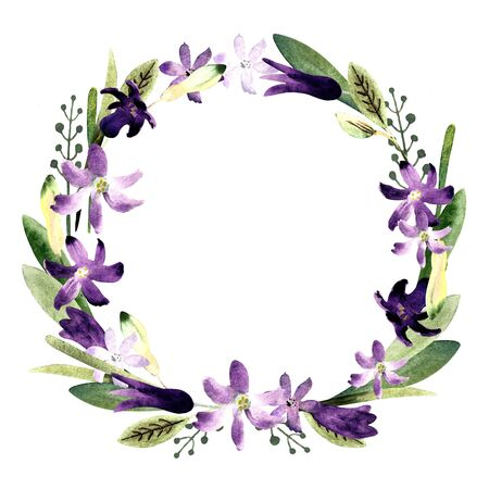 Wreath with flowers, leaves, herbs. Watercolor Illustration on white background.