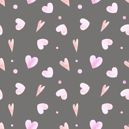 Seamless pattern with hearts on gray background Watercolor illustration 版權商用圖片