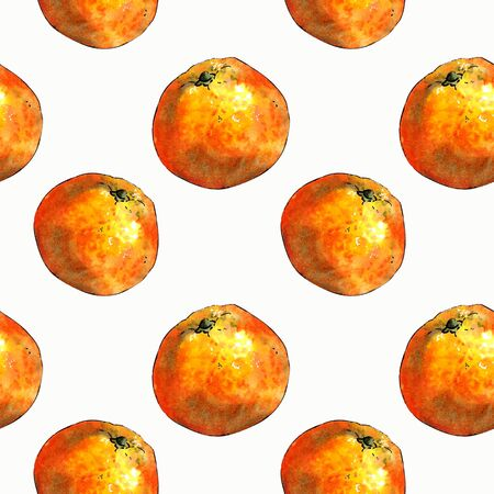 Seamless pattern with mandarins and leaves on yellow background. Drawing markers 版權商用圖片