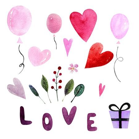 Elements for valentines day. Watercolor illustration with balloons, hearts,leaves and herbs, word love,gift. Happy