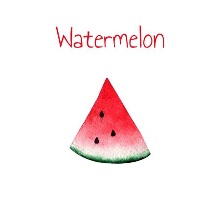 Watercolor watermelon slice on white background. 版權商用圖片