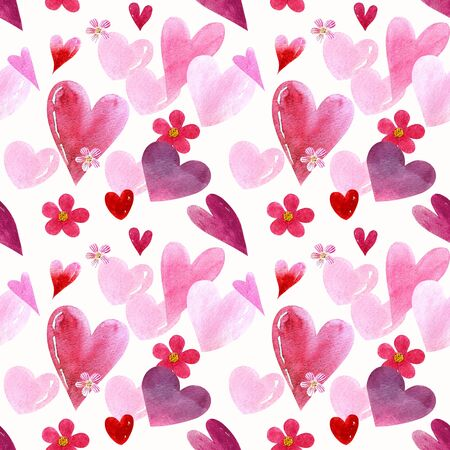 Seamless pattern with hearts and flowers on white background Watercolor illustration 版權商用圖片