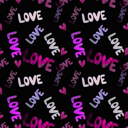 Seamless pattern with hearts and words love on black background. Watercolor illustration