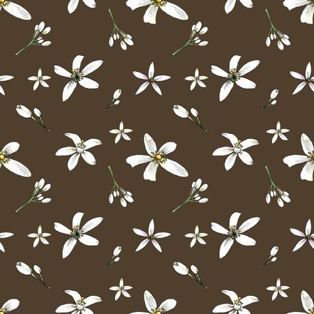 Seamless pattern with leaves and flowers on brown background. Illustration drawn by markers