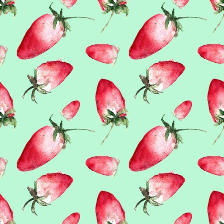 Seamless pattern with strawberry on blue background. Watercolor illustration.
