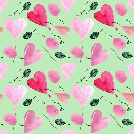 Seamless pattern with heart shaped balloon on green background Watercolor illustration. Valentines day 版權商用圖片