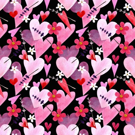 Seamless pattern with hearts, flowers, herbs, leaves on black background Watercolor illustration 版權商用圖片