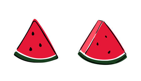 Set of slices of watermelon on white background. Vector illustration. Eps10