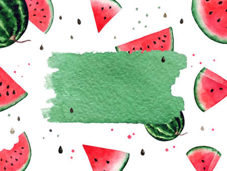 Watercolor watermelon illustration. Template with watermelon and seeds on white background.