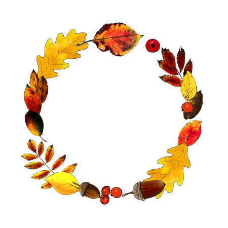 Autumn wreath with leaves, berries, acorns on white background.