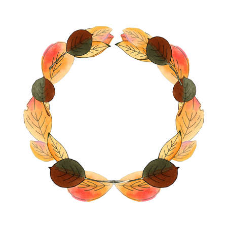 Autumn wreath on white background. Hand drawn illustration 版權商用圖片