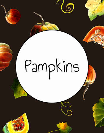 Template with pumpkins and leaves on dark background Hand draw illustration