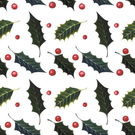 Seamless pattern with holly leaves and berries on white background. Drawing markers Zdjęcie Seryjne
