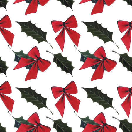Seamless pattern with red bow and holly on white background. Drawing markers