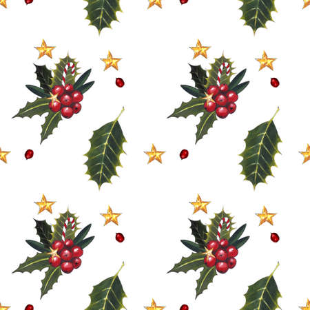 Christmas seamless pattern with holly leaves and berries on white background. Drawing markers Zdjęcie Seryjne