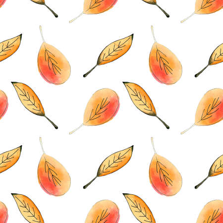 Seamless pattern with red and yellow leaves on white Zdjęcie Seryjne