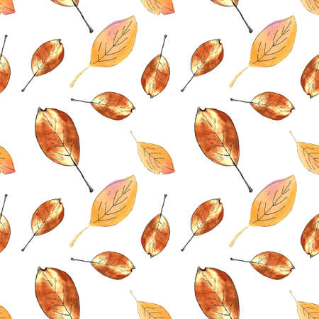 Seamless pattern with autumn leaves on white