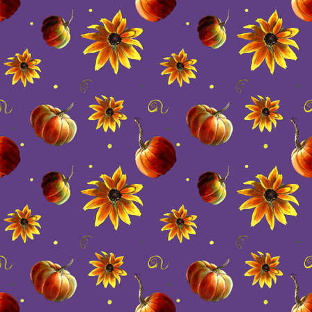 Seamless pattern with pumpkins and yellow flowers on violet Zdjęcie Seryjne