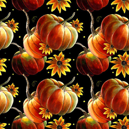 Seamless pattern with pumpkins and yellow flowers on black Zdjęcie Seryjne
