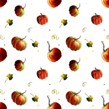 Seamless pattern with pumpkins and leaves on white
