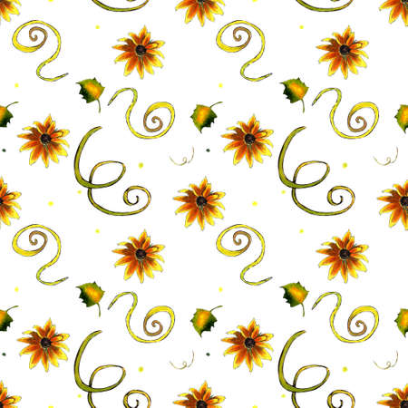 Seamless pattern with yellow flowers and leaves on white background. Hadn drawn illustration. Zdjęcie Seryjne