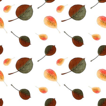 Seamless pattern with autumn leaves on white background. Hand draw illustration.