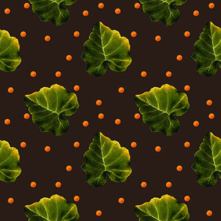 Seamless pattern with leaves on brown background Hand draw illustration.