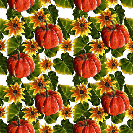 Seamless pattern with pumpkin, leaves and yellow flowers on white background. Hand draw illustration.