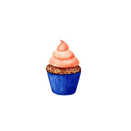 Pumpkin cupcake watercolor illustration on white background
