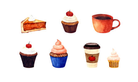 Pumpkin drink with cupcake. Autumn dessert. Coffee in a disposable cup with muffin. Watercolor illustration.