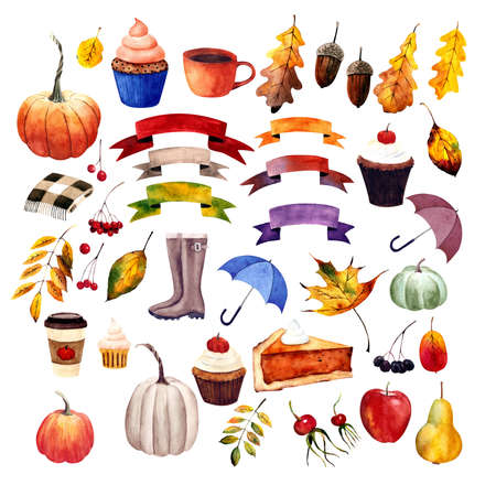Set autumn elements: rubber boots, umbrella, apple, pear, banner, leaves, berries, pumpkin, cupcake. Watercolor